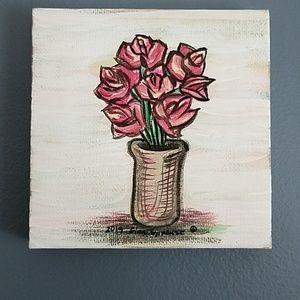 Simplistic Flowers & Vase Canvas Acrylic Painting